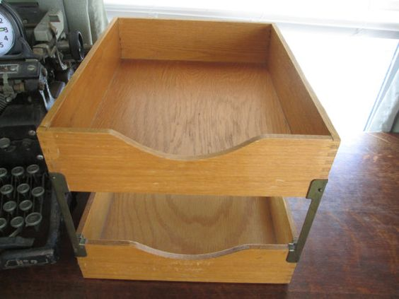 vintage 2 stack light oak in out file box it is 9 34 long and 12 14 deep x 8 34 tall dovetailed corners brass hardware felt bottom some boxes stack office file