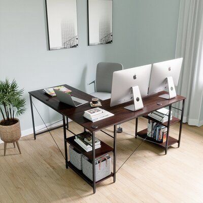 17 Stories 17 Stories L Shaped Home Office Computer Desk Build In Cable Holes Packaged With Wood Monitor Stand Riser C Home Home Office Decor Home Office Space