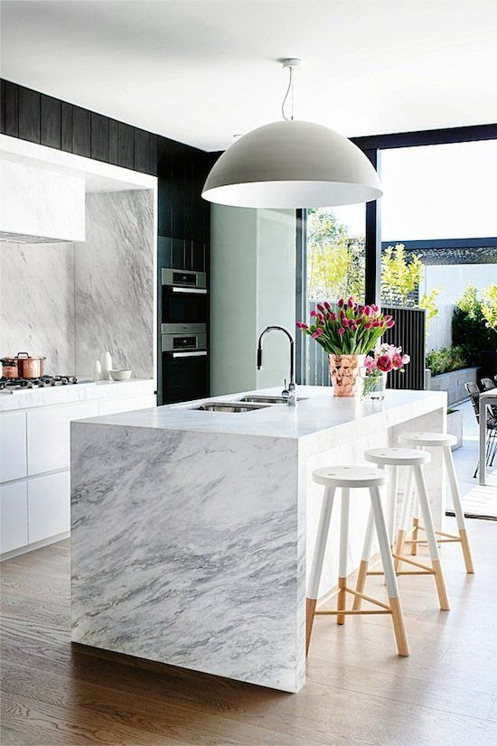White Kitchen Space Is Anchored By The Black Walls And The Copper Accents Add A Warm Modern Marble Kitchen Kitchen Inspiration Modern Modern Kitchen Design