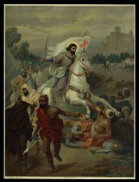 """Sant Jaume en la iconografia de """"Santiago matamoros"""": en una batalla contra els musulmans, munta un cavall blanc i porta una espasa a la mà dreta i una creu a la mà esquerra.   Materials gràfics (Biblioteca de Catalunya)"""