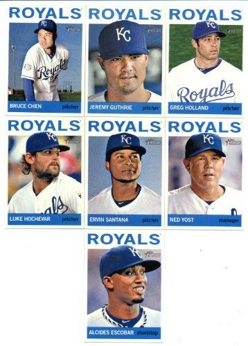 2013 Topps Heritage Kansas City Royals Base Team Set- 13 MLB Trading Cards includes Chen, Yost, Santana, Moustakis, Hochevar, Escobar, Gordon, Francoeur, Perez, Cain, Crow, Guthrie, Holland! by Topps. $8.95. 2013 Topps Heritage Kansas City Royals Base Team Set- 13 MLB Trading Cards includes Chen, Yost, Santana, Moustakis, Hochevar, Escobar, Gordon, Francoeur, Perez, Cain, Crow, Guthrie, Holland!