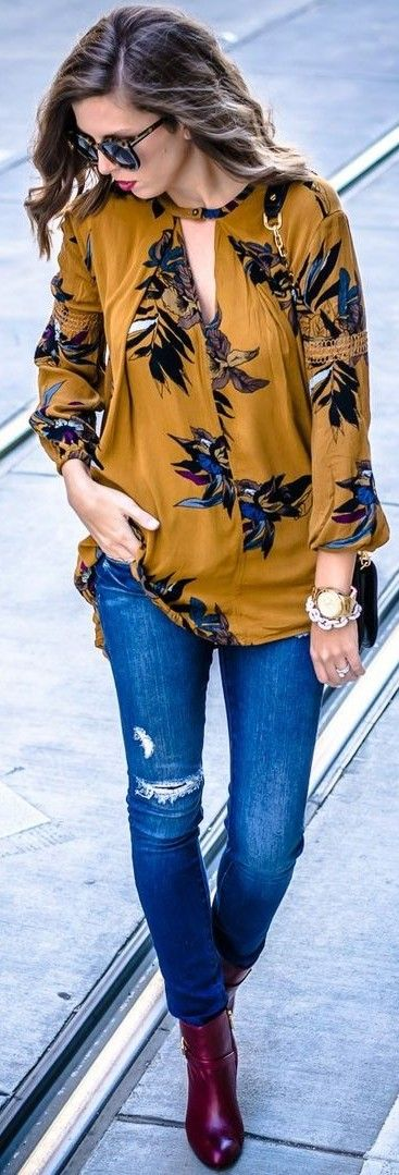 #september #trending #outfits | Mustard Floral Tunic + Denim + Burgundy Booties: