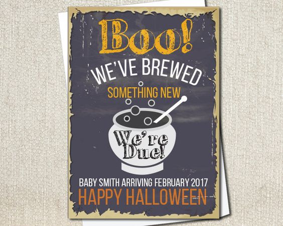 Halloween Pregnancy Announcement Card or Sign by PaintedOwlDesigns