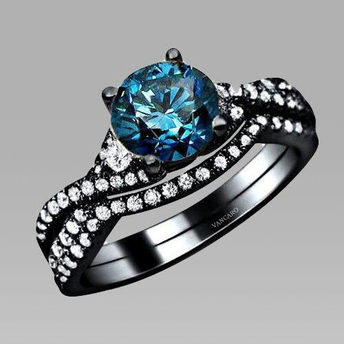 women us black wedding ring set bridal set spectacular - Black Wedding Rings For Women
