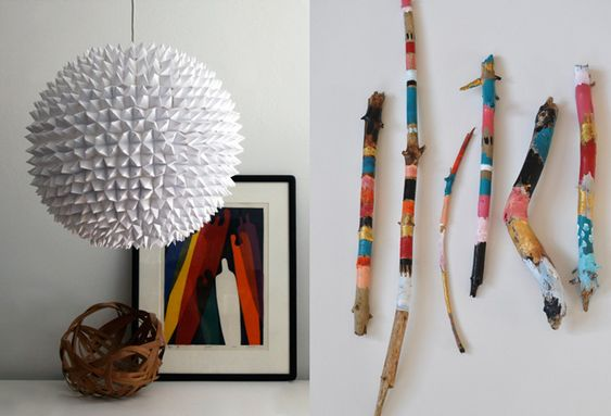 painted sticks as wall decor