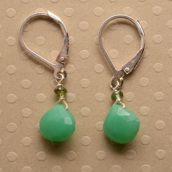 spring green earrings chrysoprase earrings gemstone by izuly