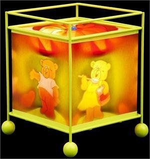 "MAGIC TABLE LAMP by CONTINENTAL HOME. $26.50. MEME MAGIC REVOLVING LAMP WITH METAL FRAME W/4 BALL FEET IN LIGHT GREEN, SILLY BEARS DESIGN, WITH RED PVC TURBINE TOP, T/C YELLOW TAPINGS AT TOP & BOTTOM 7.5""X7.5""X8.5"" TALL"