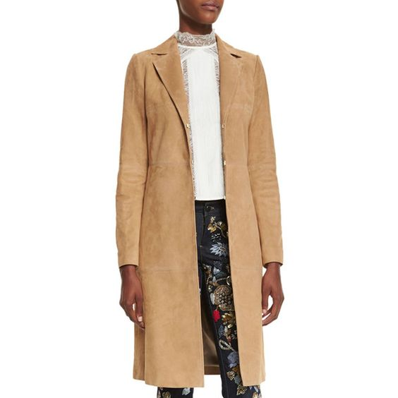 Alice + Olivia Logan Suede Mid-Length Coat (483.120 HUF) ❤ liked on Polyvore featuring outerwear, coats, tan, suede coat, beige coat, long sleeve coat, alice olivia coat and mid length coat
