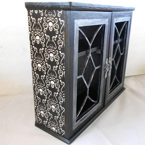 d gothic cabinet gothic home decor skull and crossboneshttpwwwetsycomuklisting128576890gothic cabinet gothic home decor skull