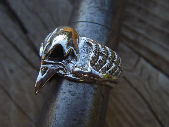 Vulture skull ring in sterling silver by Billyrebs on Etsy, $89.00