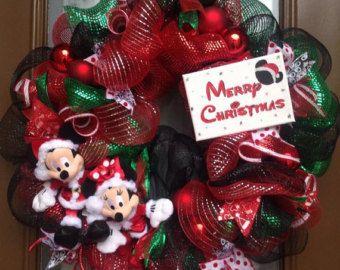 Deco Mesh Wreath - Christmas Wreath - Holiday Wreath - Mickey Very Merry Christmas - Custom Wreath - Handmade Wreath - Welcome Home Wreath