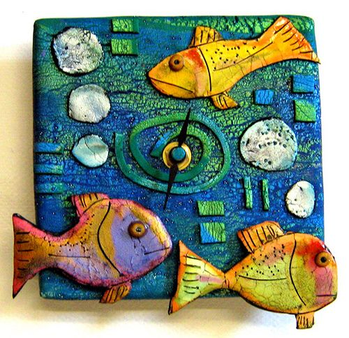 Polymer Clay Clock-  by aMused Creations, via Flickr