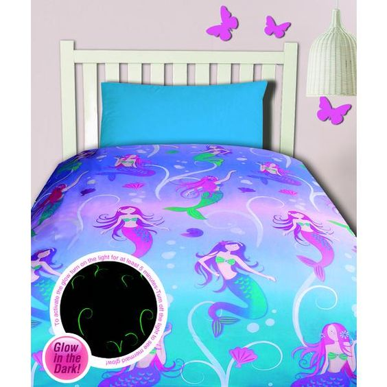 Double Bed Mermaid Glow In The Dark Quilt Cover Set Kids