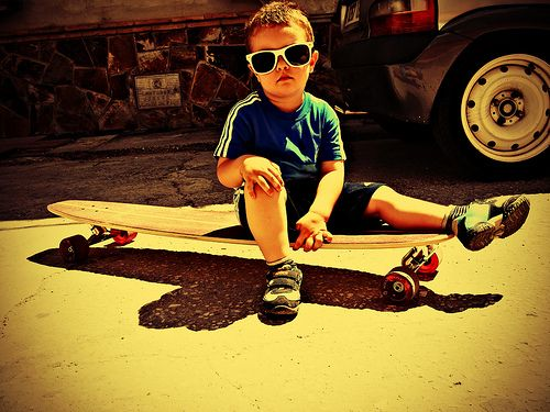 kid on longboard