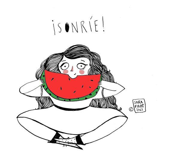 Si el día está gris ¡Sonríe! Smile! #sketch #watermelon