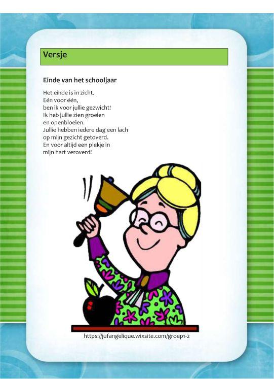 Versje: Einde van het schooljaar - Kleuterschool, Kleuterklas en Kind