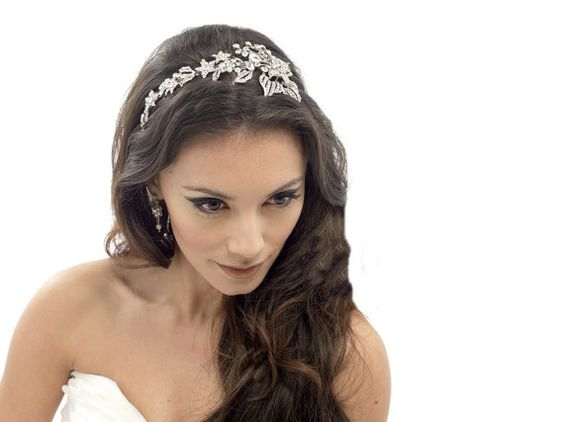 Crystal Headband.   Large Bridal Floral Spray by TalyasTreasures