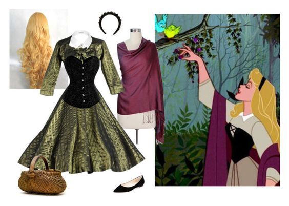 Halloween #6:  Briar Rose by demimondaine on Polyvore featuring Jimmy Choo, River Island, Simone Rocha and NOVICA