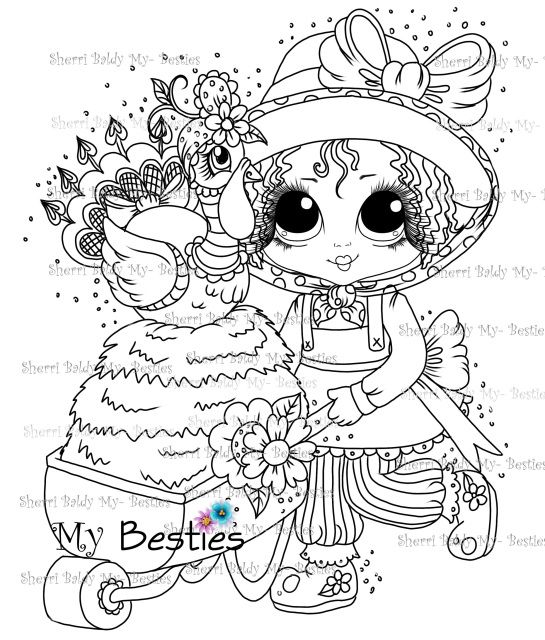Instant Download Digital Digi Stamps Big Eye Big Head Dolls Digi My Down On The Farm Besties Doll 12 By Sherri Baldy Digi Stamps Big Eyes People Coloring Pages