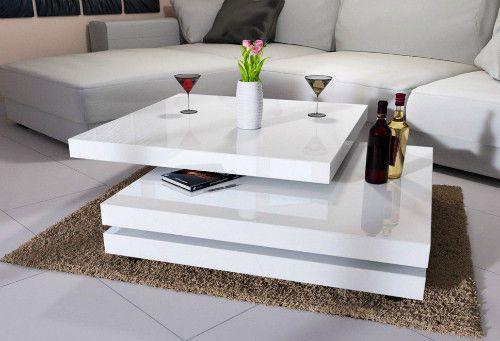 White High Gloss Coffee Table 3 Layers Rotating Design Living Room Furniture New Smartdealsmarket Modern