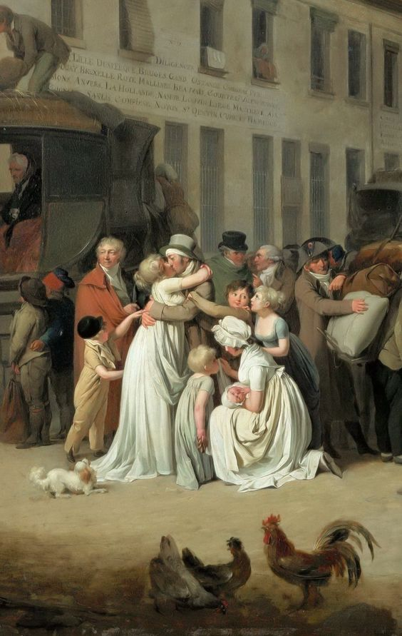 Louis-Léopold Boilly - Arrival of the Stagecoach in the Courtyard of the Messageries [1803] - detail: