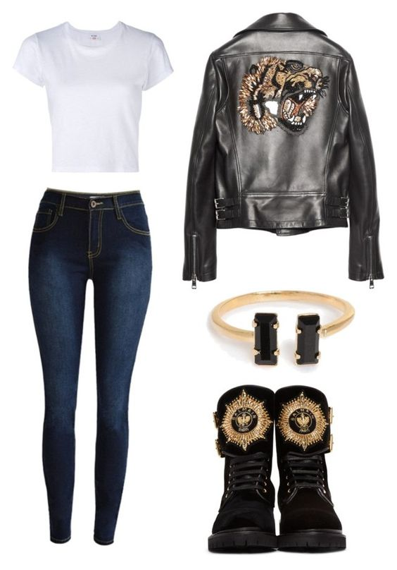 """Без названия #1087"" by adelinaaa ❤ liked on Polyvore featuring RE/DONE, Balmain and Gucci"