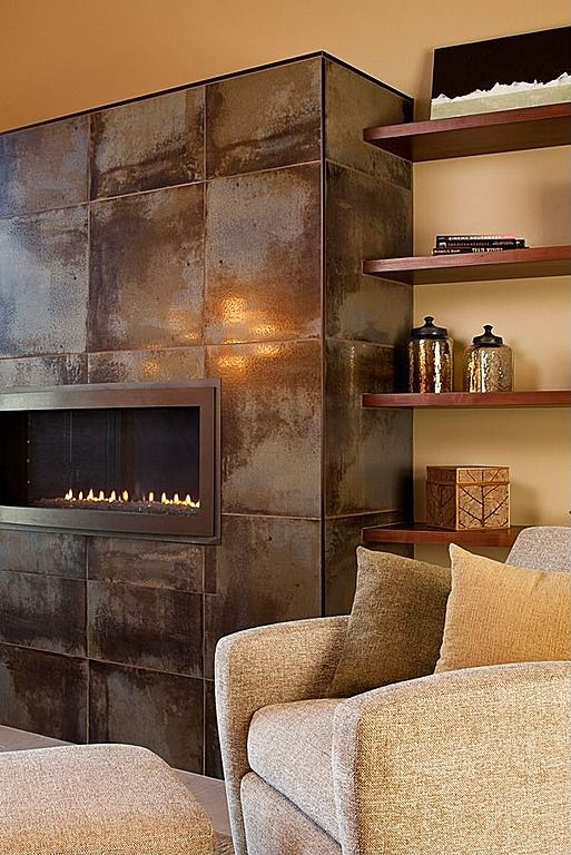 linear design bronze fire glass would look great in here stainless steel tile fireplace surround Custom Metal Fireplace Surrounds