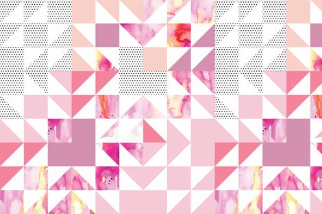 puzzle wholecloth // pink starburst fabric by ivieclothco on Spoonflower - custom fabric