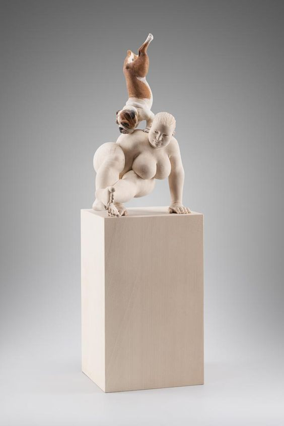 Matthias Verginer, Balance, 2015, basswood and acrylic, 52 x 23 x 17 cm…
