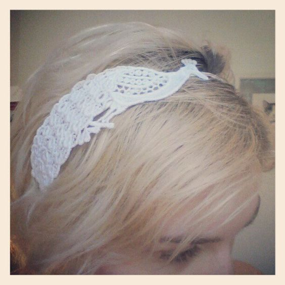 White Lace Peacock Headband - Bridal Headband For Her - Bird Fascinator. $30.00, via Etsy.