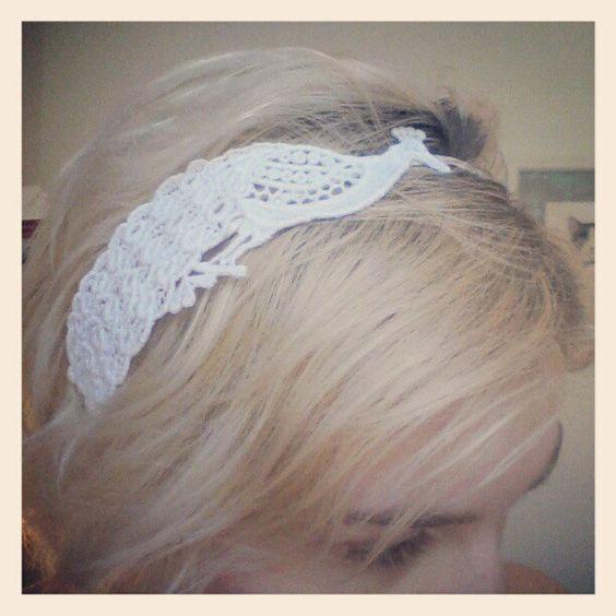 White Lace Peacock Headband - Bridal Headband For Her - Bird Fascinator. $30.00, via Etsy.