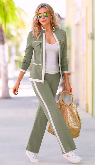 My favorite airplane outfit . . .  Zippered Sport Coordinates in Green from Boston Proper. Sporty can be striking and sexy in this warm-up set styled with a two-way gold-tone zip jacket, zip pockets and slimming, elastic-waist pant. The perfect casual outfit.