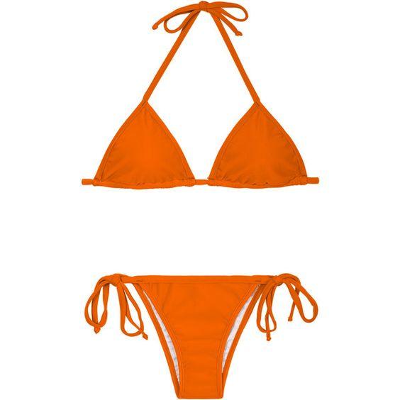 Rio De Sol Brazilian Bikini - King Cort Lacinho (£26) ❤ liked on Polyvore featuring swimwear, bikinis, orange, brazilian cut bikini, padded bikini tops, brazilian bikini, orange bikini top and swim top