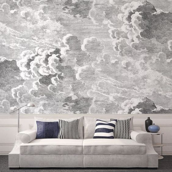 Panneau nuvole fornasetti wallpaper marketing and sons for Cloud wallpaper mural