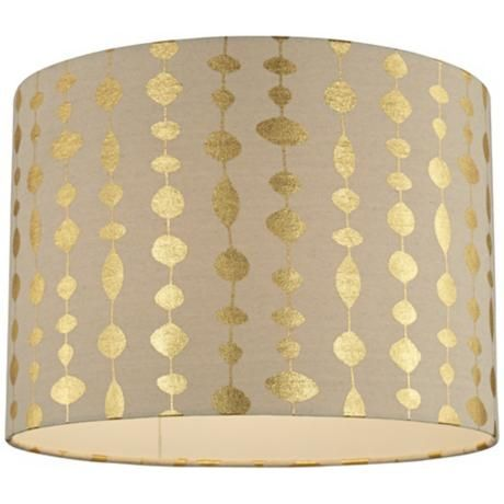 Gold Drops Canvas Drum Shade