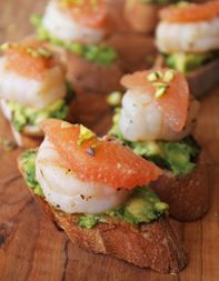 Seared-Shrimp Bruschetta with Grapefruit and Avocado