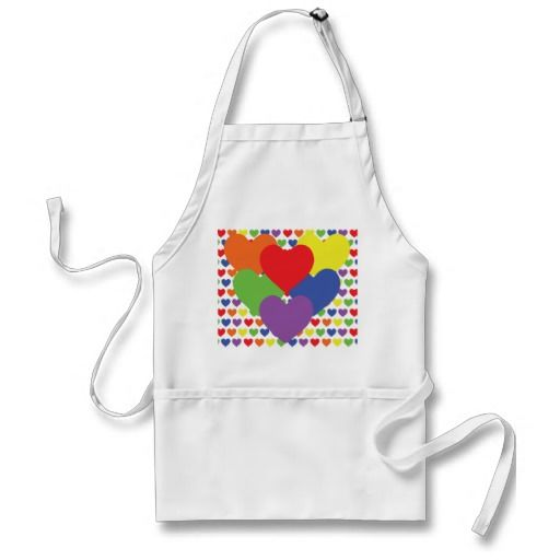 $23.95 - Tiny Rainbow Hearts Apron - Whether you're out, or not, or just like Rainbows, these tiny rainbow colored hearts will make any smile. Five colored hearts alternating in a tiled pattern. Typically used by the LGBT community, spreading love, diversity, and acceptance. Whether you are a heart lover, a rainbow lover, or part of an alternative lifestyle, this design is meant for all!