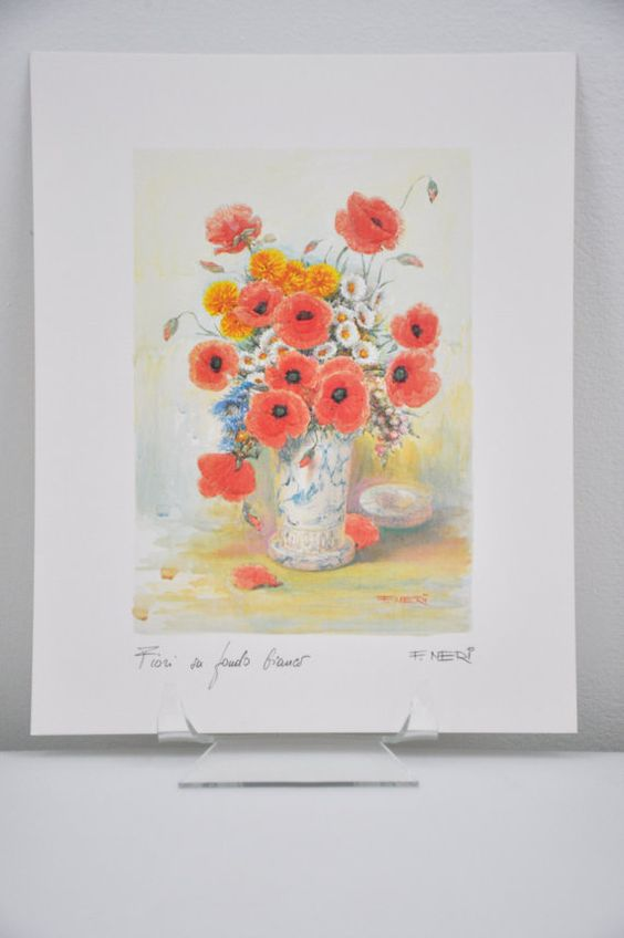 Stunning Red Poppy Floral Watercolor Print Signed By F