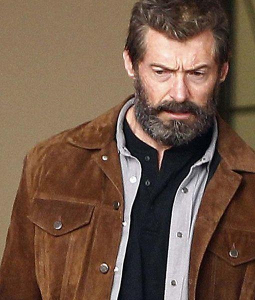 X-Men 2017 Logan Wolverine Hugh Jackman Brown Real Suede Leather Jacket