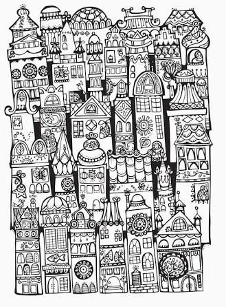 Doodle Invasion Colouring Book Architecture