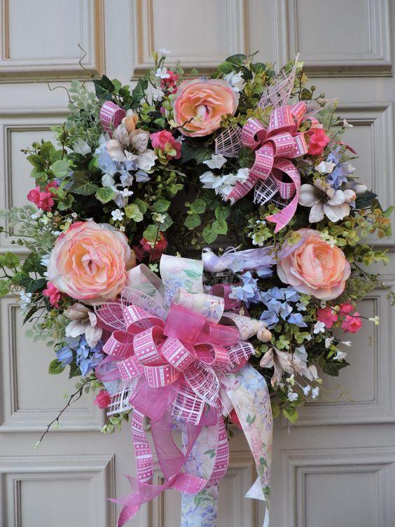 Valentines Door Wreath - Spring - Summer - Roses - Grapevine - Door Wreath by BerdiesBloomers on Etsy