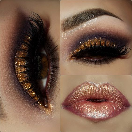 Gold Glitter Dramatic Smokey Eye Makeup - Lashes - Bronze Lips | Makeup/Beauty | Pinterest ...