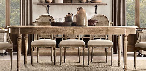 Vintage French Fluted Leg Restoration Hardware Dining Room Table
