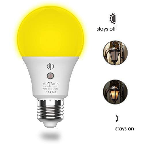 8w Led Sensor Light Bulb Dusk To Dawn Auto On Off Smart Bulb Built In Light Sensor No Stroboscopic Effect A19 E26 Base Security Lamp For Corridor Ga