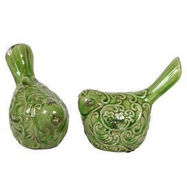 Ceramic Bird Set of Two Distressed Green (Set of 2)