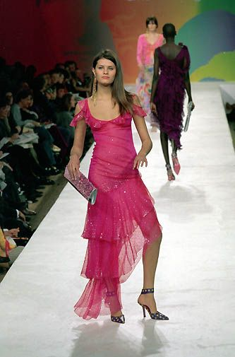 Ungaro | Spring 2000 Ready-to-Wear | 137 Pink ruffled cut out shoulder maxi dress with asymmetrical hem