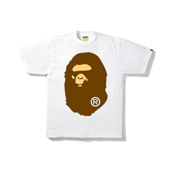 BIG APE HEAD TEE ($100) ❤ liked on Polyvore featuring tops, t-shirts, white cotton tee, white tees, white cotton t shirts, white cotton tops and cotton tee