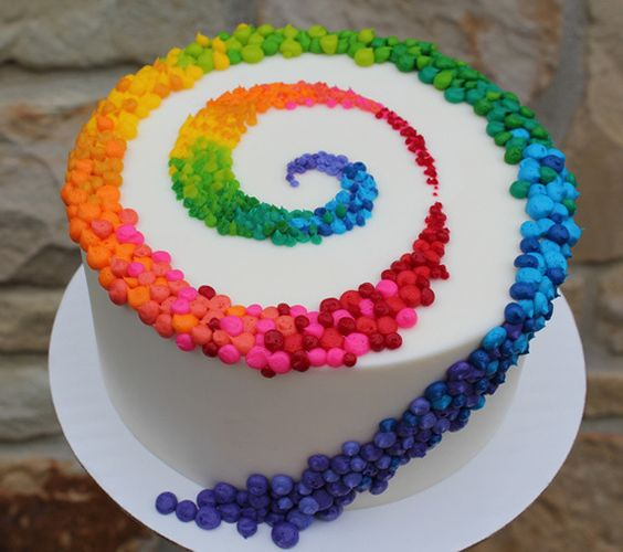 Colorful Patterned Swirl on White Cake   Birthday Cake, Colorful Cakes   Beautiful Cake Pictures