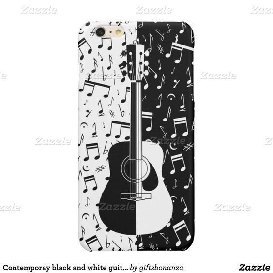 Contemporay black and white guitar music notes glossy iPhone 6 plus case