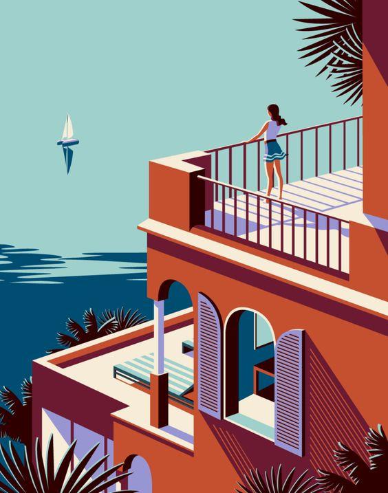 "Malika Favre - Odyssée series for Kuoni France travel brochure 2016  ""breaks"" • un-kitchy, classic art poster style à la Art Deco & Bagel cocktail • french graphic illustrator • official site: http://malikafavre.com"